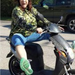 Mary Jane on her scooter